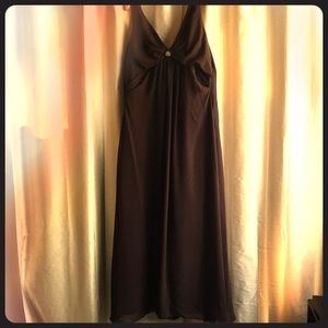 Brown Lined Evening Gown